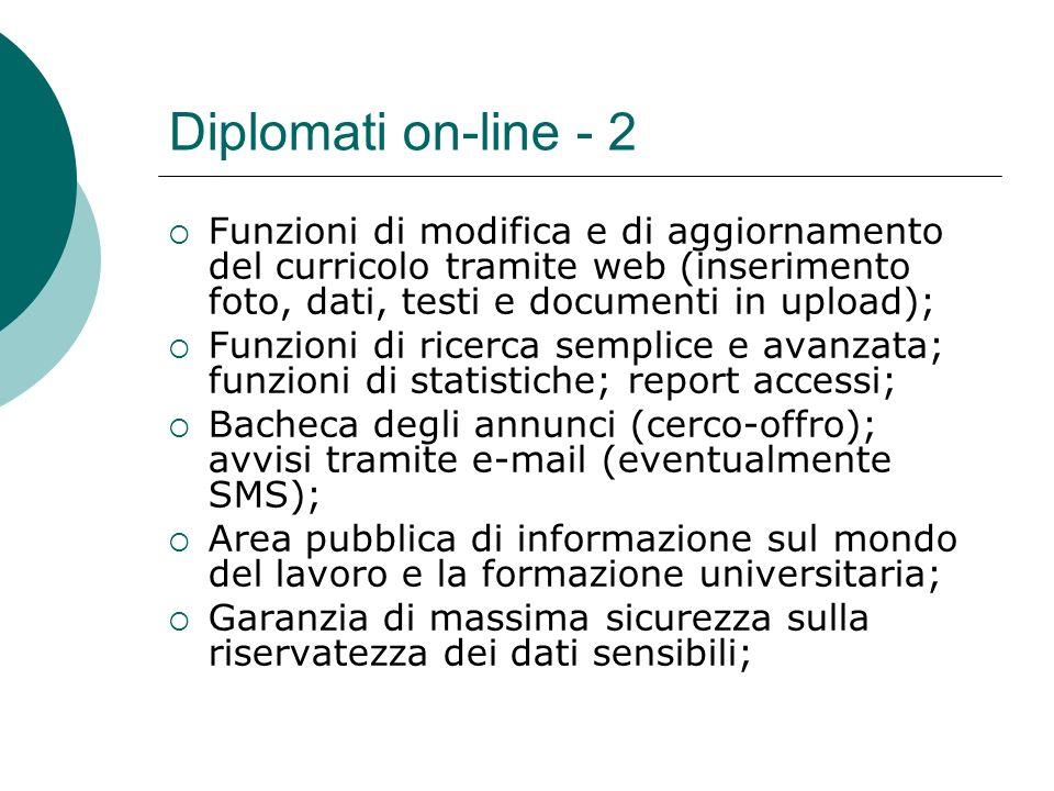 Diplomati on-line - 2 Funzioni di modifica e di aggiornamento del curricolo tramite web (inserimento foto, dati, testi e documenti in upload); Funzion