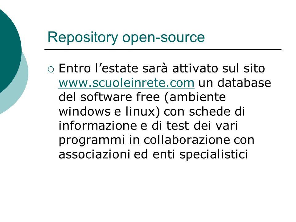 Repository open-source Entro lestate sarà attivato sul sito www.scuoleinrete.com un database del software free (ambiente windows e linux) con schede d