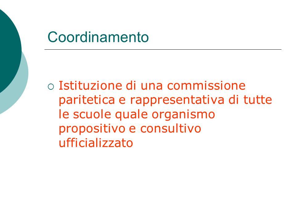 Coordinamento Istituzione di una commissione paritetica e rappresentativa di tutte le scuole quale organismo propositivo e consultivo ufficializzato