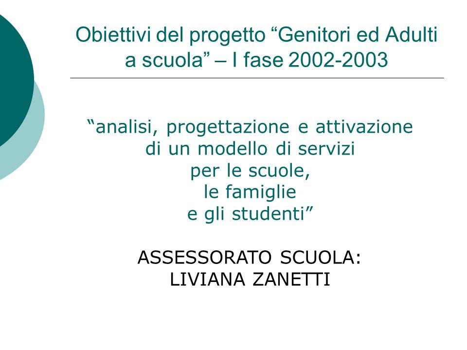 Obiettivi del progetto Genitori ed Adulti a scuola – I fase 2002-2003 analisi, progettazione e attivazione di un modello di servizi per le scuole, le
