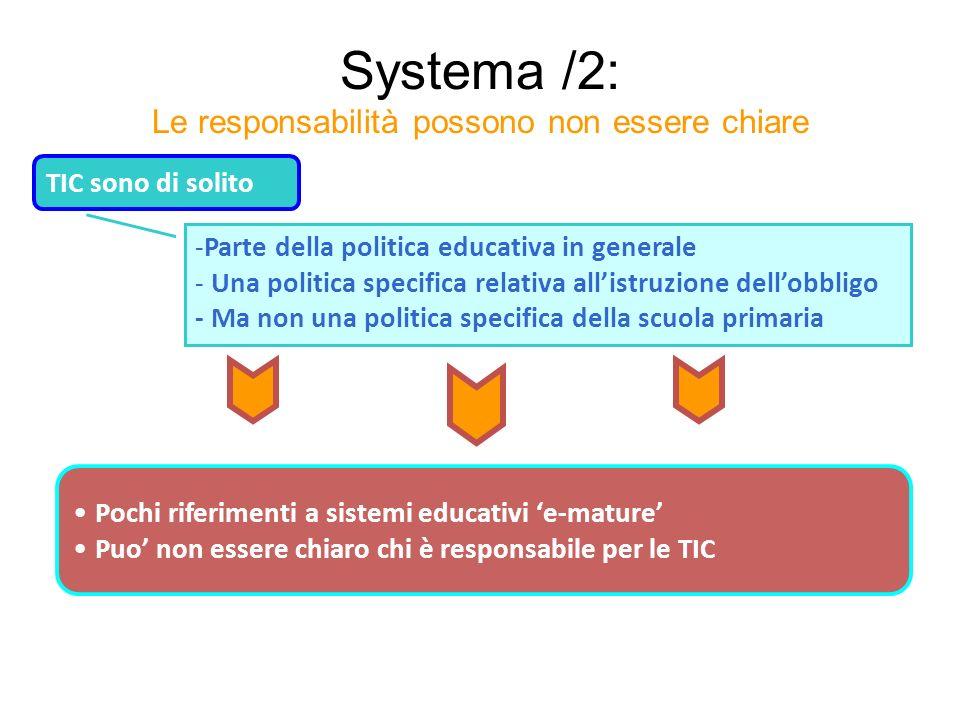 Systema /2: Le responsabilità possono non essere chiare TIC sono di solito -Parte della politica educativa in generale - Una politica specifica relati