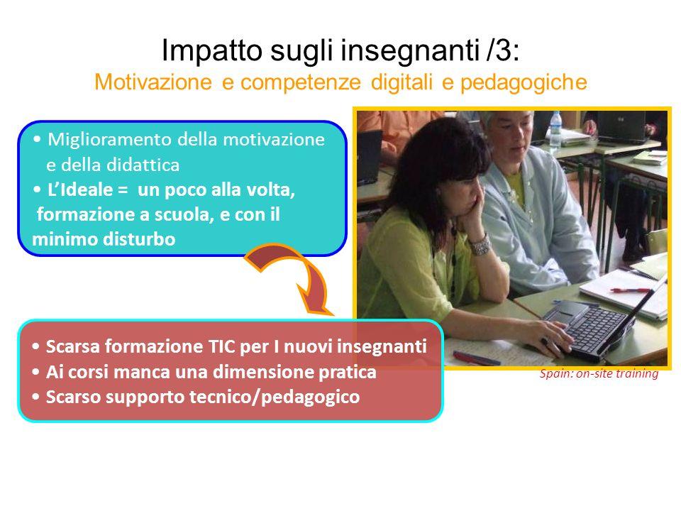Impatto sugli insegnanti /3: Motivazione e competenze digitali e pedagogiche Spain: on-site training Miglioramento della motivazione e della didattica