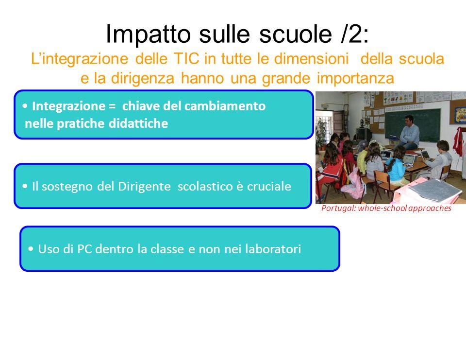 Impatto sulle scuole /2: Lintegrazione delle TIC in tutte le dimensioni della scuola e la dirigenza hanno una grande importanza Integrazione = chiave