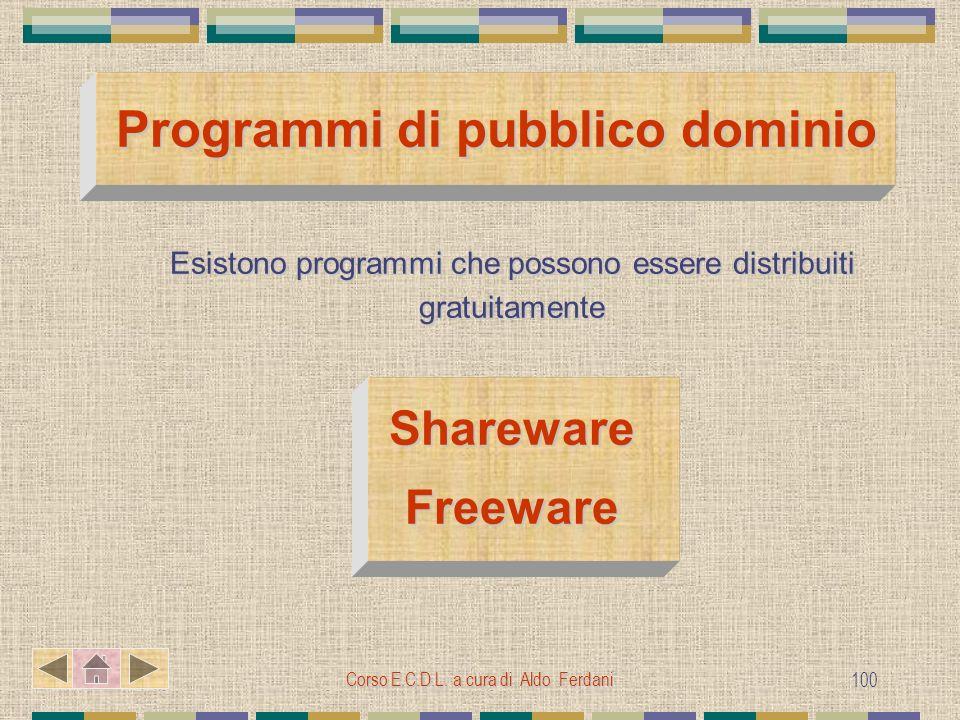 Corso E.C.D.L. a cura di Aldo Ferdani 100 Programmi di pubblico dominio Esistono programmi che possono essere distribuiti gratuitamente SharewareFreew