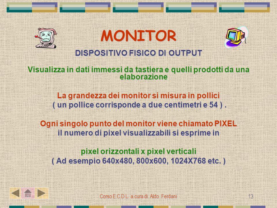 Corso E.C.D.L. a cura di Aldo Ferdani 13 MONITOR DISPOSITIVO FISICO DI OUTPUT Visualizza in dati immessi da tastiera e quelli prodotti da una elaboraz