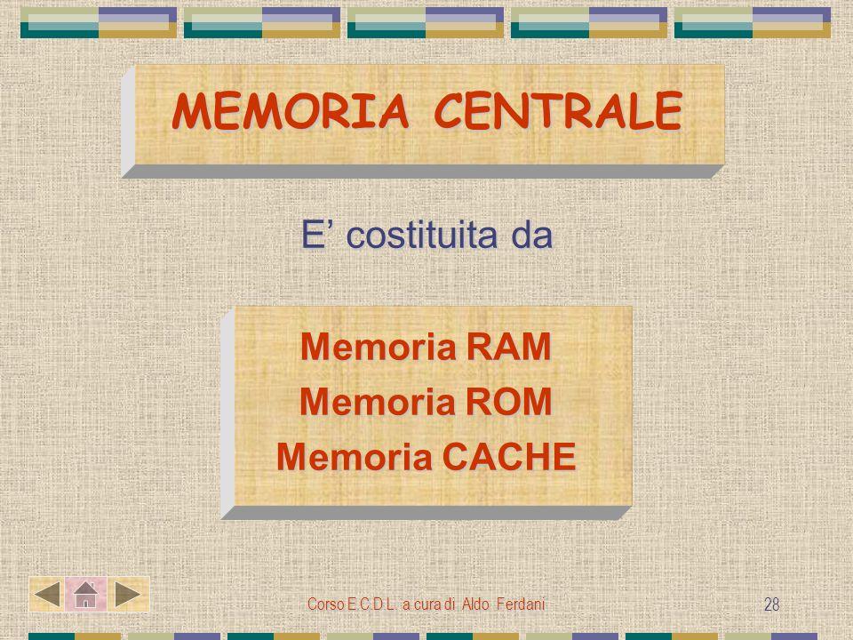Corso E.C.D.L. a cura di Aldo Ferdani 28 MEMORIA CENTRALE E costituita da Memoria RAM Memoria ROM Memoria CACHE