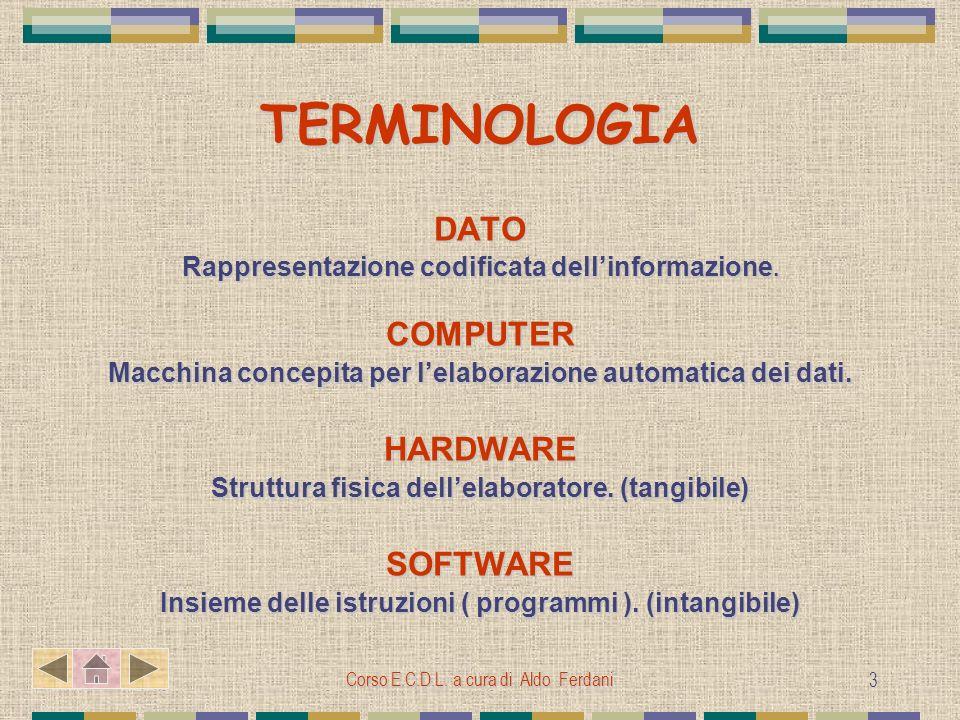 Corso E.C.D.L. a cura di Aldo Ferdani 3 TERMINOLOGIA DATO Rappresentazione codificata dellinformazione. COMPUTER Macchina concepita per lelaborazione