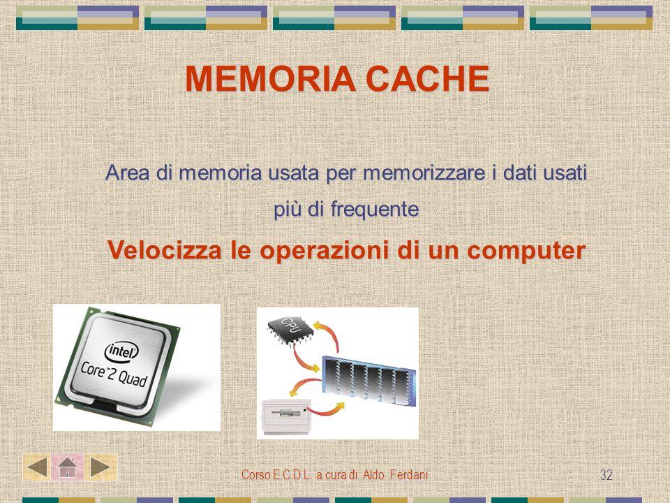 Corso E.C.D.L. a cura di Aldo Ferdani 32 MEMORIA CACHE MEMORIA CACHE Area di memoria usata per memorizzare i dati usati più di frequente Velocizza le