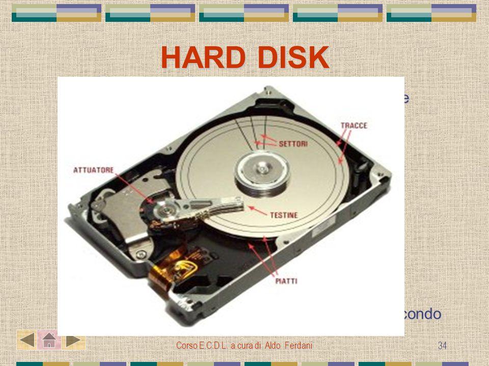 Corso E.C.D.L. a cura di Aldo Ferdani 34 HARD DISK Dispositivo composto capace di conservare e immagazzinare grandi mole di dati Lunità di misura è il