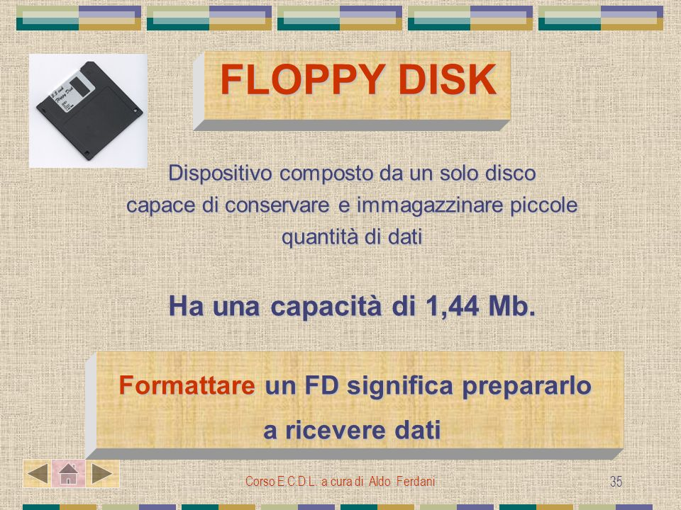 Corso E.C.D.L. a cura di Aldo Ferdani 35 FLOPPY DISK FLOPPY DISK Dispositivo composto da un solo disco capace di conservare e immagazzinare piccole qu