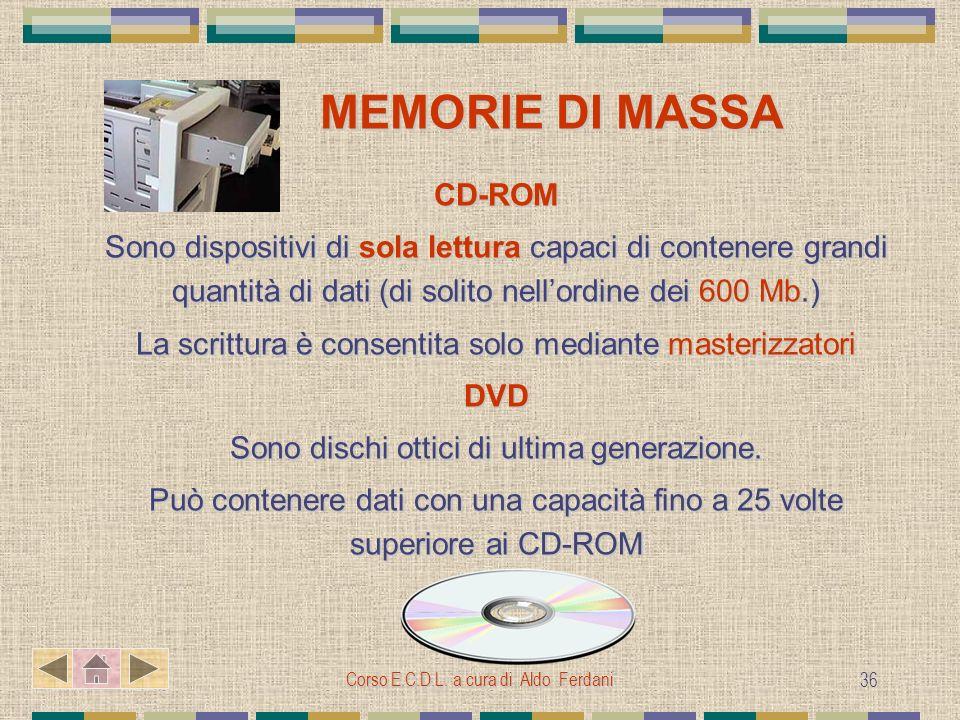 Corso E.C.D.L. a cura di Aldo Ferdani 36 MEMORIE DI MASSA MEMORIE DI MASSA CD-ROM Sono dispositivi di sola lettura capaci di contenere grandi quantità