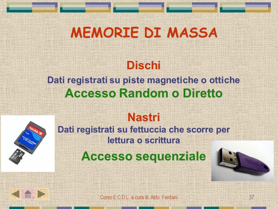 Corso E.C.D.L. a cura di Aldo Ferdani 37 MEMORIE DI MASSA MEMORIE DI MASSA Dischi Dati registrati su piste magnetiche o ottiche Accesso Random o Diret