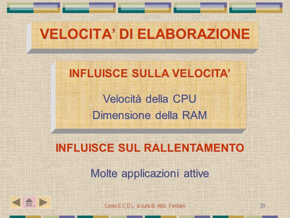 Corso E.C.D.L. a cura di Aldo Ferdani 39 VELOCITA DI ELABORAZIONE INFLUISCE SULLA VELOCITA Velocità della CPU Dimensione della RAM INFLUISCE SUL RALLE
