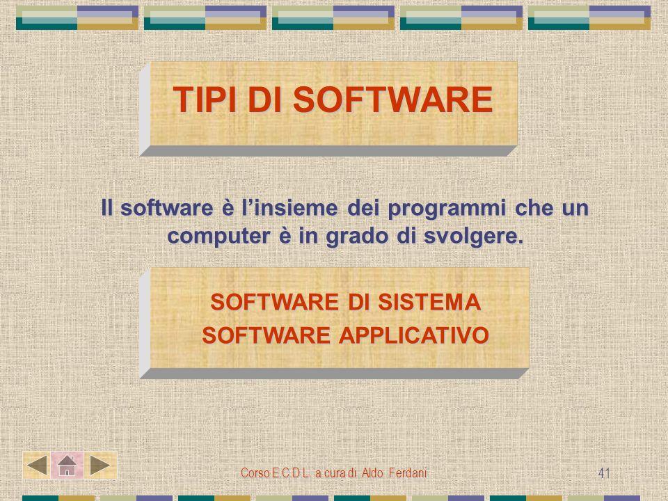 Corso E.C.D.L. a cura di Aldo Ferdani 41 TIPI DI SOFTWARE TIPI DI SOFTWARE Il software è linsieme dei programmi che un computer è in grado di svolgere
