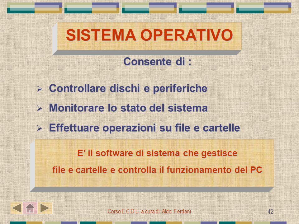 Corso E.C.D.L. a cura di Aldo Ferdani 42 SISTEMA OPERATIVO Consente di : Controllare dischi e periferiche Controllare dischi e periferiche Monitorare