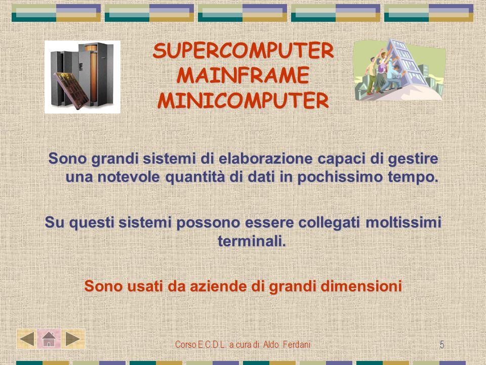 Corso E.C.D.L. a cura di Aldo Ferdani 5 SUPERCOMPUTER MAINFRAME MINICOMPUTER Sono grandi sistemi di elaborazione capaci di gestire una notevole quanti