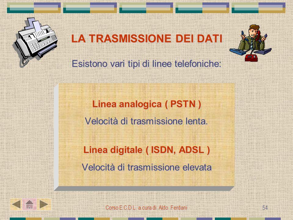 Corso E.C.D.L. a cura di Aldo Ferdani 54 LA TRASMISSIONE DEI DATI Esistono vari tipi di linee telefoniche: Linea analogica ( PSTN ) Velocità di trasmi