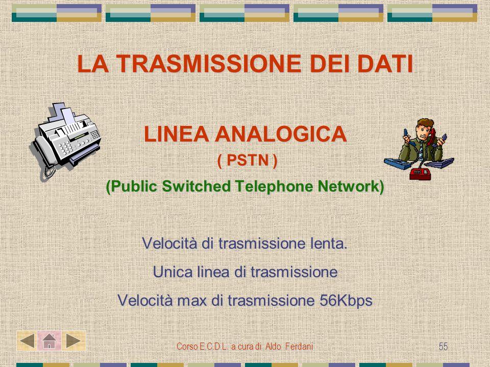 Corso E.C.D.L. a cura di Aldo Ferdani 55 LA TRASMISSIONE DEI DATI LINEA ANALOGICA ( PSTN ) ( PSTN ) (Public Switched Telephone Network) Velocità di tr
