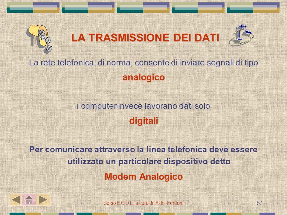 Corso E.C.D.L. a cura di Aldo Ferdani 57 LA TRASMISSIONE DEI DATI LA TRASMISSIONE DEI DATI La rete telefonica, di norma, consente di inviare segnali d