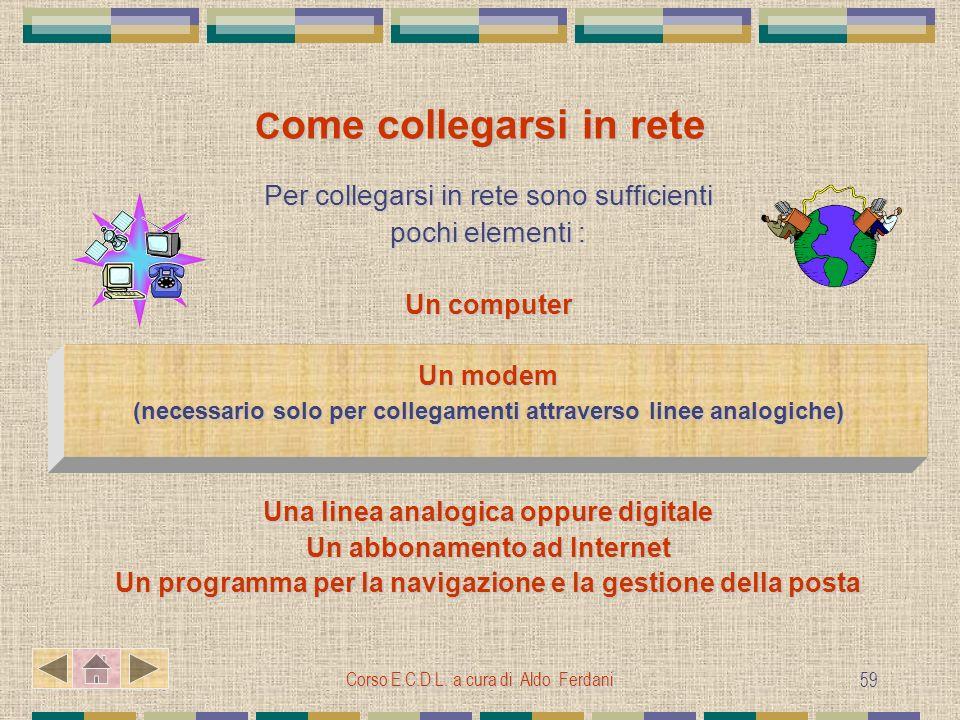 Corso E.C.D.L. a cura di Aldo Ferdani 59 C ome collegarsi in rete Per collegarsi in rete sono sufficienti pochi elementi : Un computer Un modem (neces