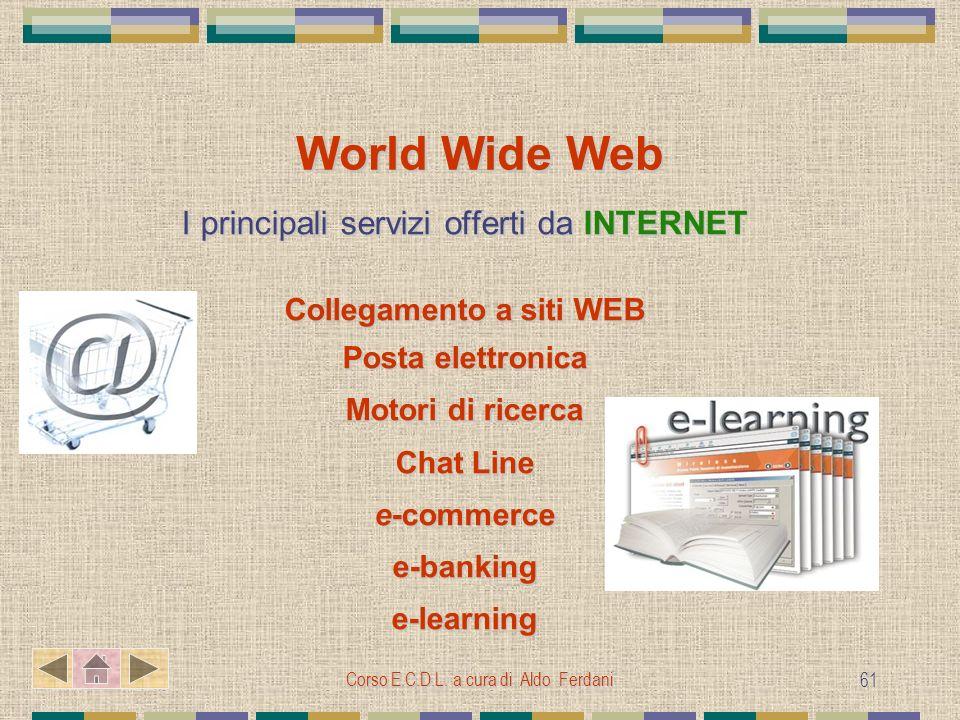Corso E.C.D.L. a cura di Aldo Ferdani 61 World Wide Web I principali servizi offerti da INTERNET Collegamento a siti WEB Posta elettronica Motori di r