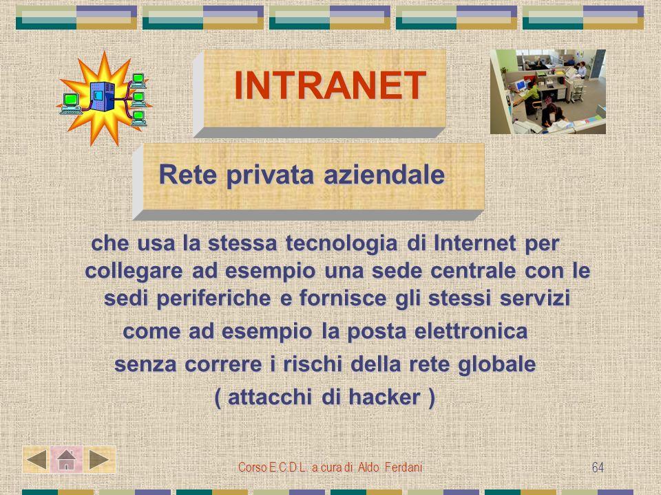 Corso E.C.D.L. a cura di Aldo Ferdani 64 INTRANET Rete privata aziendale Rete privata aziendale che usa la stessa tecnologia di Internet per collegare
