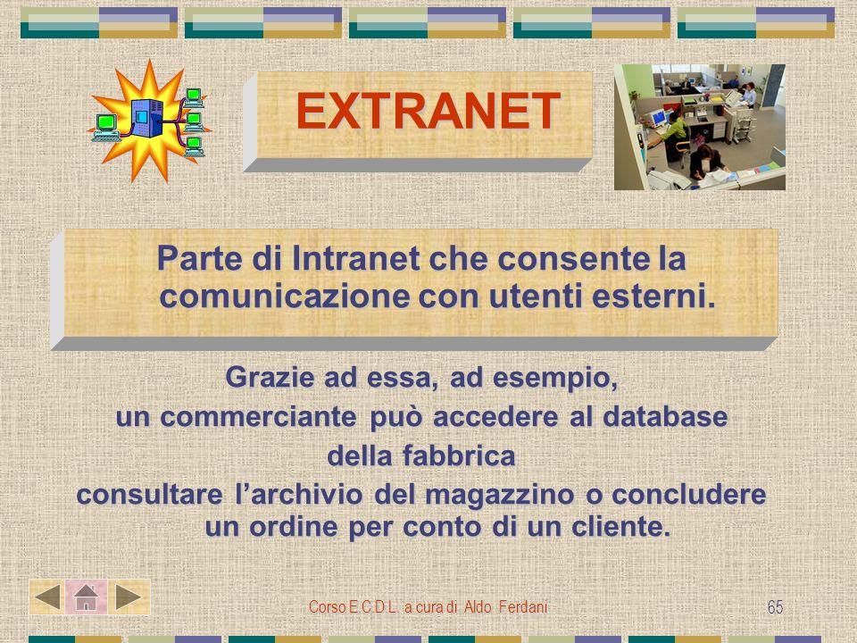 Corso E.C.D.L. a cura di Aldo Ferdani 65 EXTRANET Parte di Intranet che consente la comunicazione con utenti esterni. Grazie ad essa, ad esempio, un c