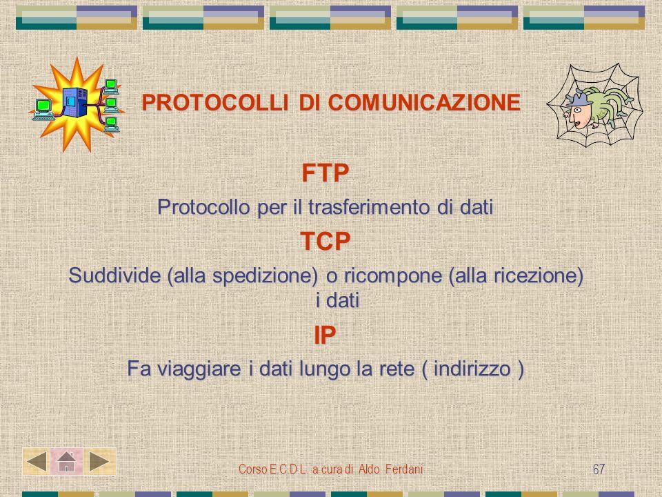 Corso E.C.D.L. a cura di Aldo Ferdani 67 PROTOCOLLI DI COMUNICAZIONE FTP Protocollo per il trasferimento di dati TCP Suddivide (alla spedizione) o ric
