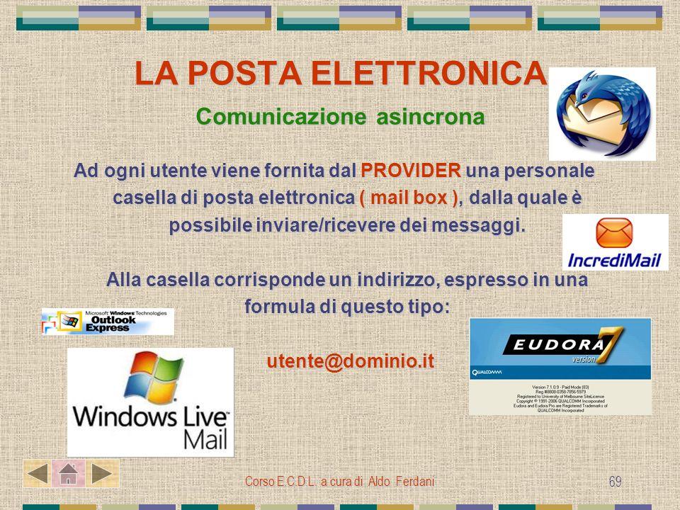 Corso E.C.D.L. a cura di Aldo Ferdani 69 LA POSTA ELETTRONICA Comunicazione asincrona Ad ogni utente viene fornita dal PROVIDER una personale casella