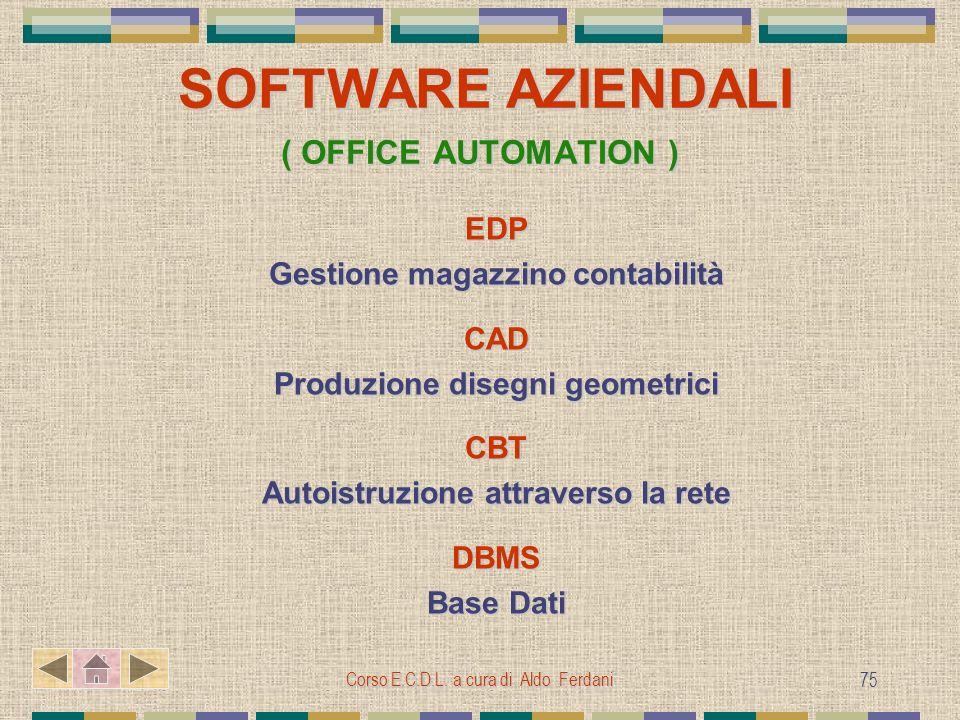 Corso E.C.D.L. a cura di Aldo Ferdani 75 SOFTWARE AZIENDALI ( OFFICE AUTOMATION ) SOFTWARE AZIENDALI ( OFFICE AUTOMATION ) EDP Gestione magazzino cont