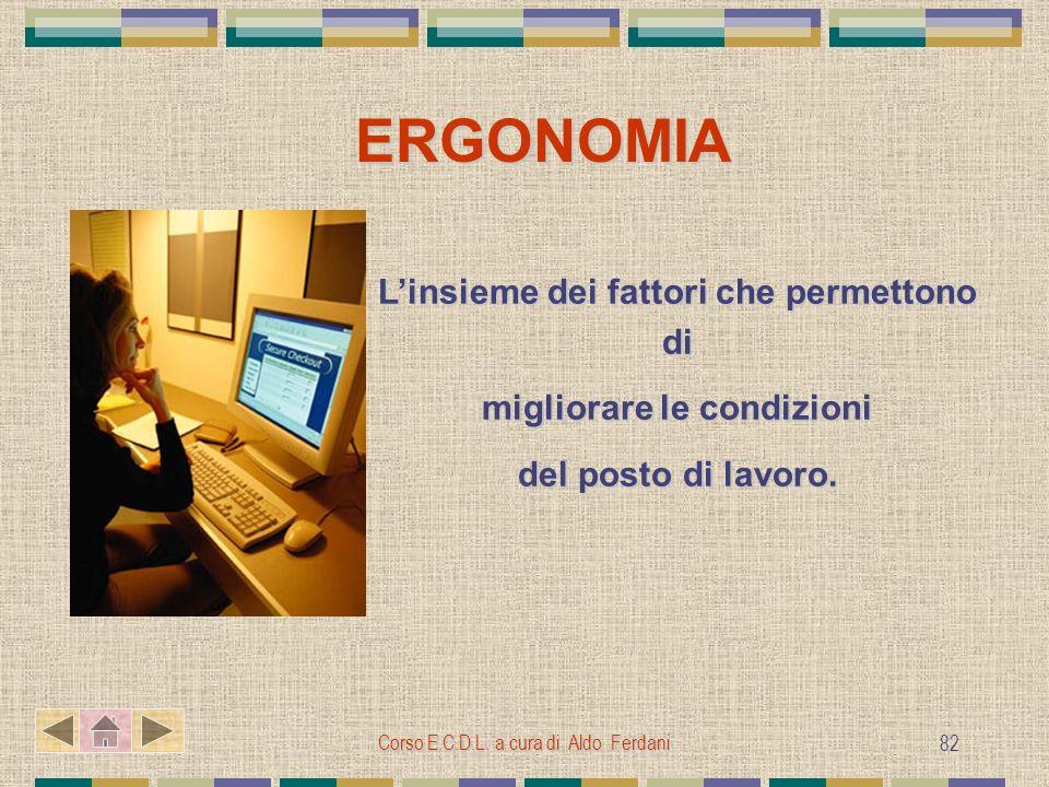 Corso E.C.D.L. a cura di Aldo Ferdani 82 ERGONOMIA Linsieme dei fattori che permettono di migliorare le condizioni del posto di lavoro.