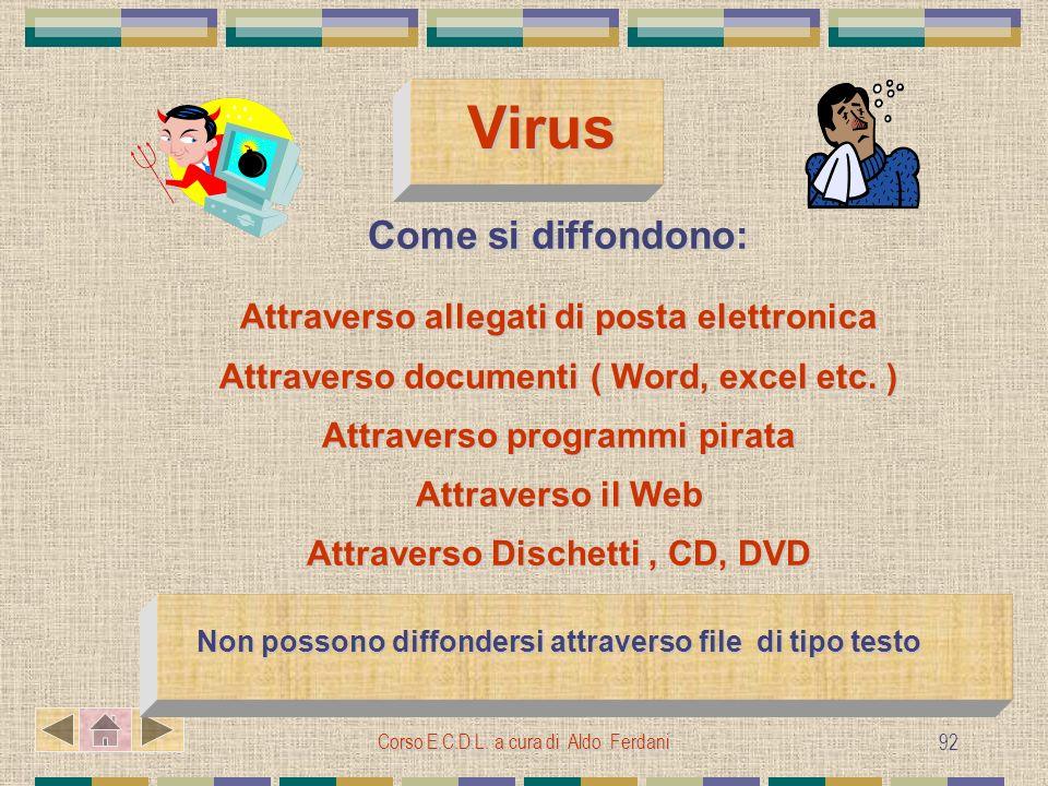 Corso E.C.D.L. a cura di Aldo Ferdani 92 Virus Come si diffondono: Attraverso allegati di posta elettronica Attraverso documenti ( Word, excel etc. )