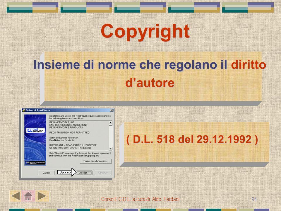 Corso E.C.D.L. a cura di Aldo Ferdani 94 Copyright Insieme di norme che regolano il diritto dautore ( D.L. 518 del 29.12.1992 ) ( D.L. 518 del 29.12.1