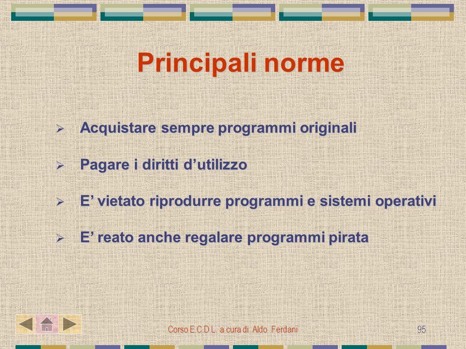 Corso E.C.D.L. a cura di Aldo Ferdani 95 Principali norme Acquistare sempre programmi originali Acquistare sempre programmi originali Pagare i diritti