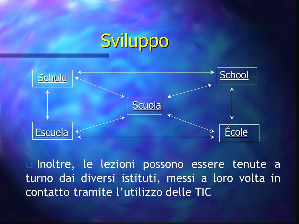 Sviluppo Escuela Schule School Scuola École Inoltre, le lezioni possono essere tenute a turno dai diversi istituti, messi a loro volta in contatto tra