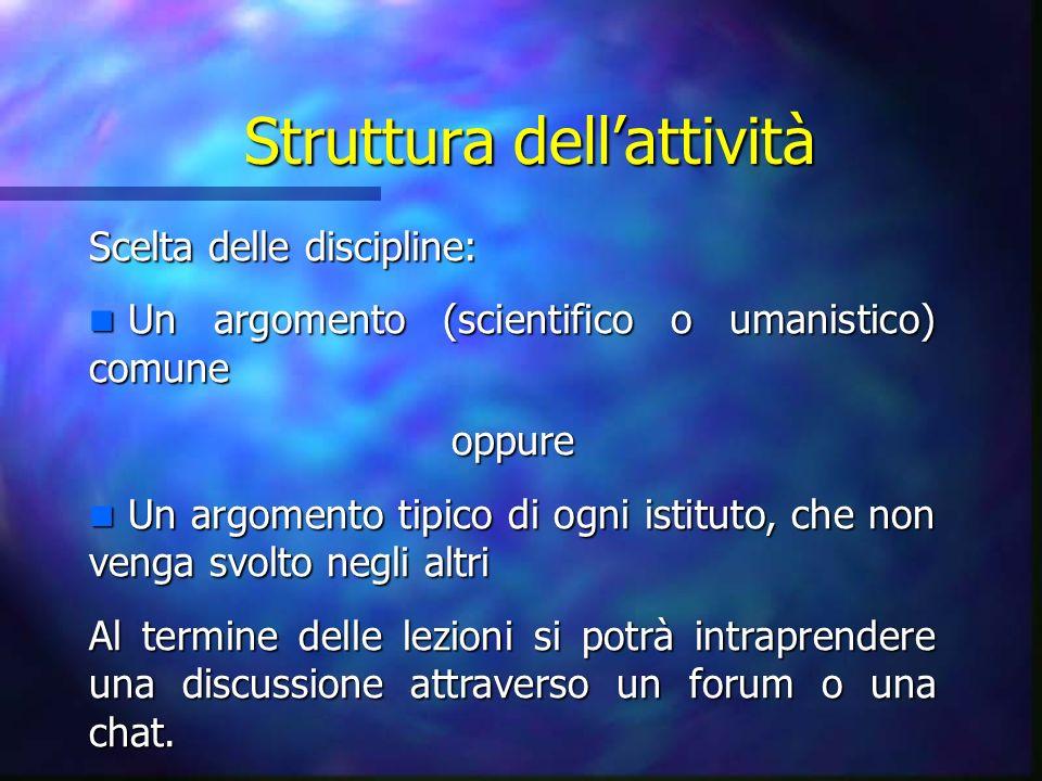 Struttura dellattività Scelta delle discipline: n Un argomento (scientifico o umanistico) comune oppure n Un argomento tipico di ogni istituto, che no