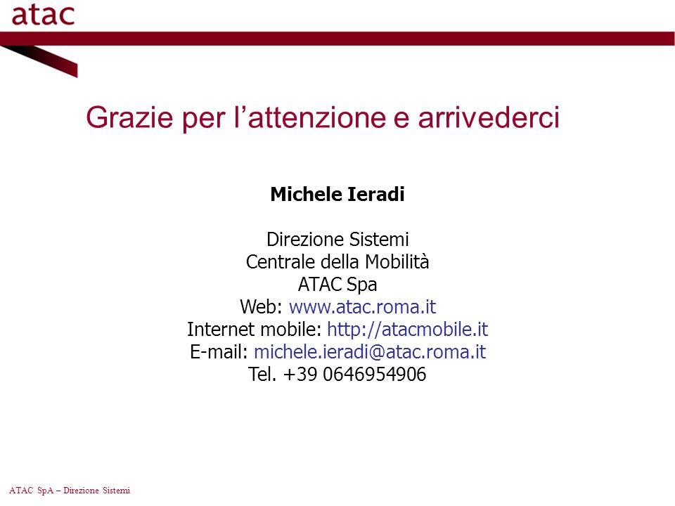 ATAC SpA – Direzione Sistemi Michele Ieradi Direzione Sistemi Centrale della Mobilità ATAC Spa Web: www.atac.roma.it Internet mobile: http://atacmobil