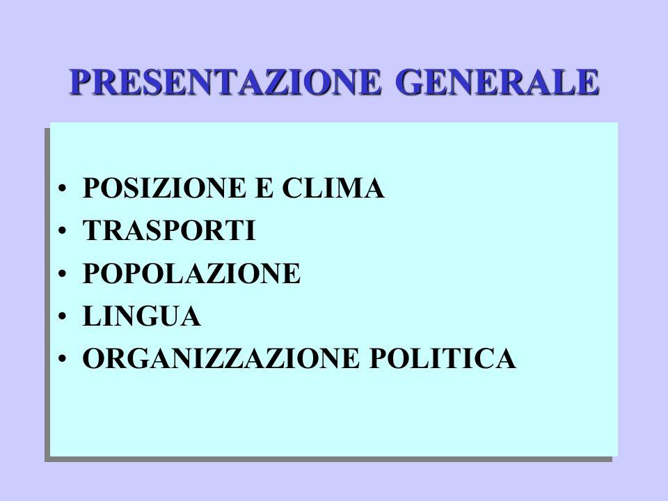 PRESENTAZIONE GENERALE POSIZIONE E CLIMA TRASPORTI POPOLAZIONE LINGUA ORGANIZZAZIONE POLITICA POSIZIONE E CLIMA TRASPORTI POPOLAZIONE LINGUA ORGANIZZAZIONE POLITICA