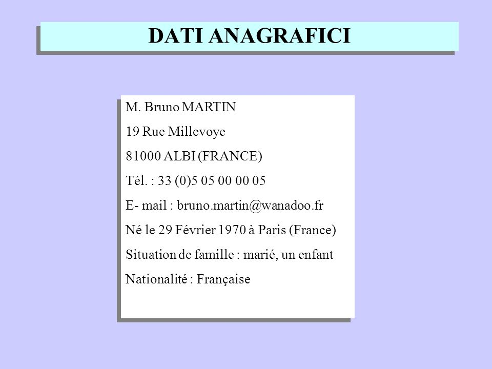 DATI ANAGRAFICI M. Bruno MARTIN 19 Rue Millevoye 81000 ALBI (FRANCE) Tél. : 33 (0)5 05 00 00 05 E- mail : bruno.martin@wanadoo.fr Né le 29 Février 197