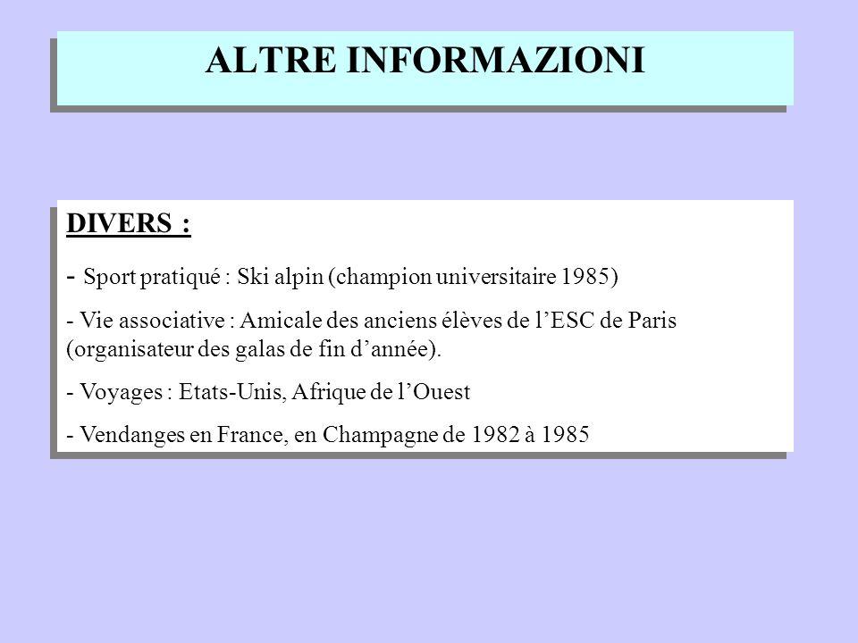 ALTRE INFORMAZIONI DIVERS : - Sport pratiqué : Ski alpin (champion universitaire 1985) - Vie associative : Amicale des anciens élèves de lESC de Paris (organisateur des galas de fin dannée).