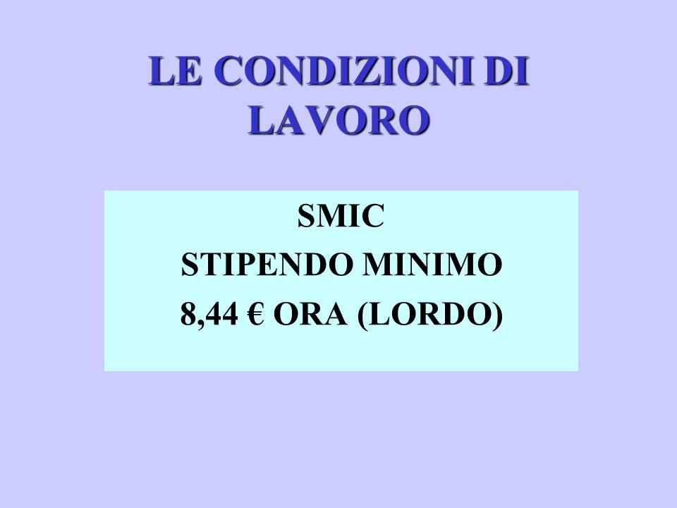 LE CONDIZIONI DI LAVORO SMIC STIPENDO MINIMO 8,44 ORA (LORDO)
