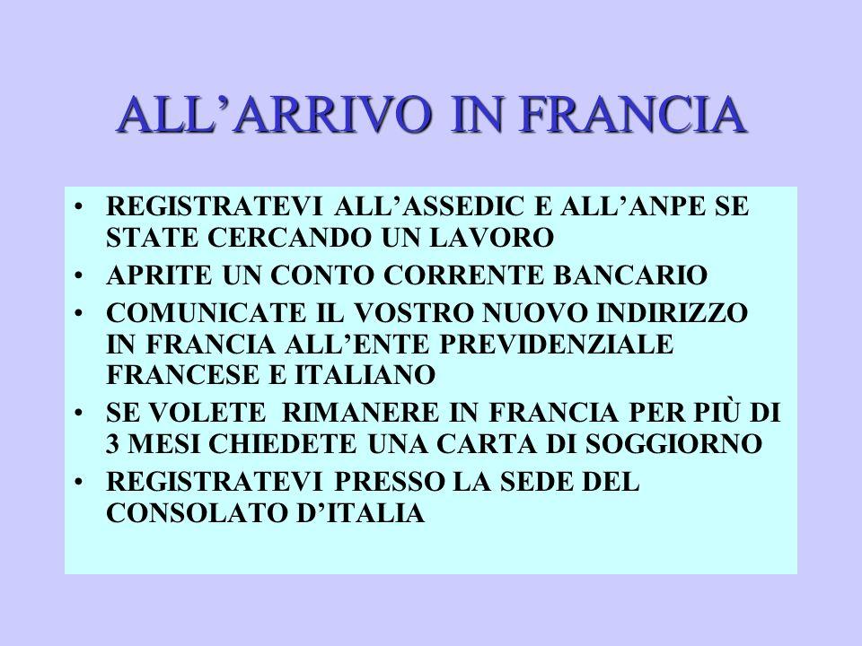 ALLARRIVO IN FRANCIA REGISTRATEVI ALLASSEDIC E ALLANPE SE STATE CERCANDO UN LAVORO APRITE UN CONTO CORRENTE BANCARIO COMUNICATE IL VOSTRO NUOVO INDIRIZZO IN FRANCIA ALLENTE PREVIDENZIALE FRANCESE E ITALIANO SE VOLETE RIMANERE IN FRANCIA PER PIÙ DI 3 MESI CHIEDETE UNA CARTA DI SOGGIORNO REGISTRATEVI PRESSO LA SEDE DEL CONSOLATO DITALIA