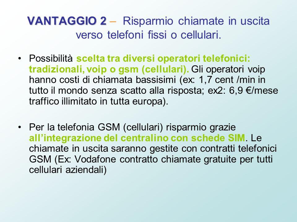 VANTAGGIO 2 VANTAGGIO 2 – Risparmio chiamate in uscita verso telefoni fissi o cellulari. Possibilità scelta tra diversi operatori telefonici: tradizio