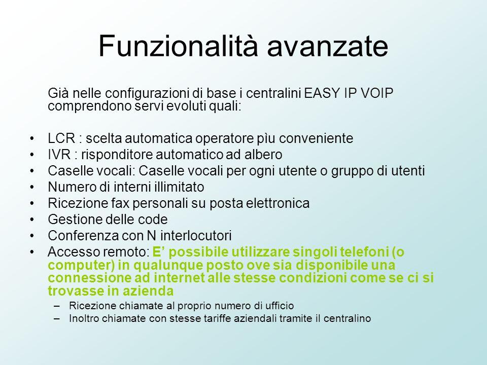 Funzionalità avanzate Già nelle configurazioni di base i centralini EASY IP VOIP comprendono servi evoluti quali: LCR : scelta automatica operatore pì
