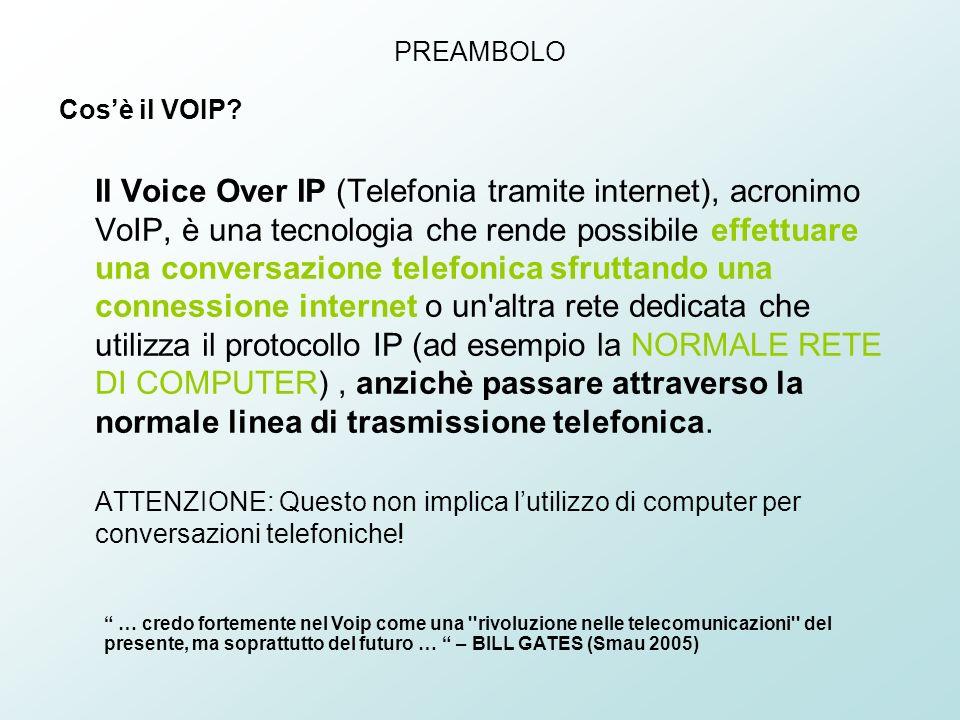 PREAMBOLO Cosè il VOIP? Il Voice Over IP (Telefonia tramite internet), acronimo VoIP, è una tecnologia che rende possibile effettuare una conversazion