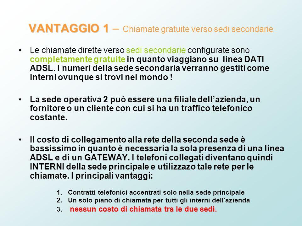 VANTAGGIO 1 VANTAGGIO 1 – Chiamate gratuite verso sedi secondarie Le chiamate dirette verso sedi secondarie configurate sono completamente gratuite in