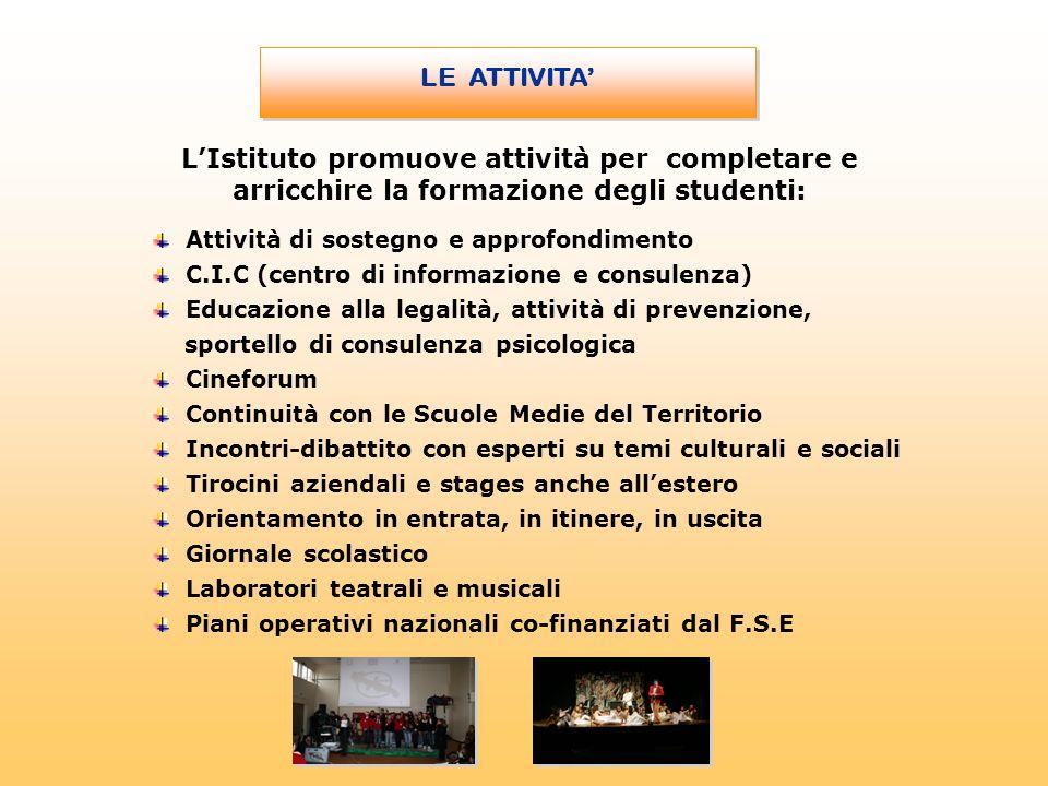 Attività di sostegno e approfondimento C.I.C (centro di informazione e consulenza) Educazione alla legalità, attività di prevenzione, sportello di con