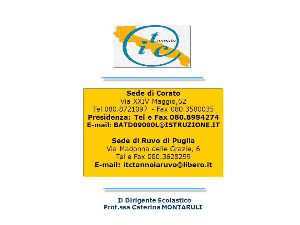 Il Dirigente Scolastico Prof.ssa Caterina MONTARULI Sede di Corato Via XXIV Maggio,62 Tel 080.8721097 - Fax 080.3580035 Presidenza: Tel e Fax 080.8984