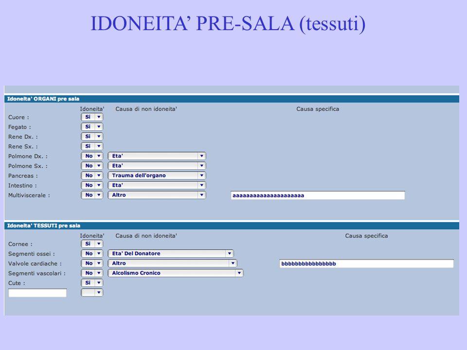 IDONEITA PRE-SALA (tessuti)