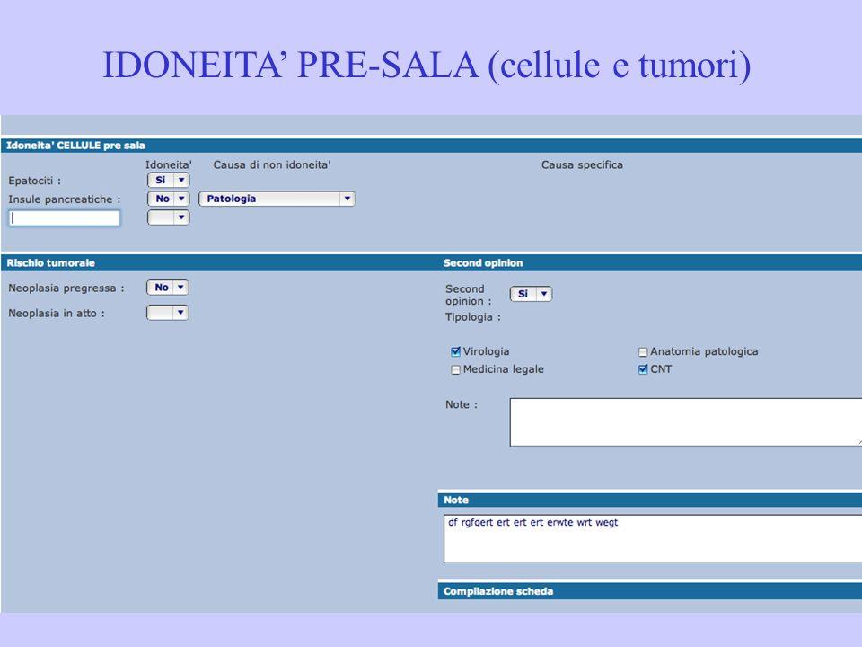 IDONEITA PRE-SALA (cellule e tumori)